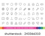 set from 50 flat linear icons...