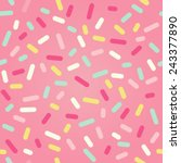 seamless background. pink donut ... | Shutterstock .eps vector #243377890