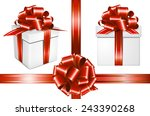 gift red ribbon with bow and... | Shutterstock .eps vector #243390268
