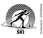Cross Country Skiing. Vector...