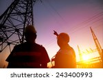 two worker watching the power... | Shutterstock . vector #243400993