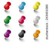 colored pins on the white... | Shutterstock .eps vector #243401080