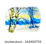 watercolor landscape background....