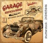 vintage garage retro poster   Shutterstock .eps vector #243405646