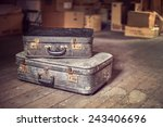 Old Vintage Suitcases In A...