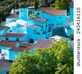 juzcar  blue andalusian village ... | Shutterstock . vector #243416110