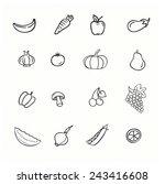 vector set of vegetables  apple ... | Shutterstock .eps vector #243416608