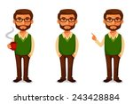 friendly cartoon guy in casual... | Shutterstock .eps vector #243428884