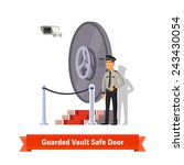 vault safe door with podium and ... | Shutterstock .eps vector #243430054