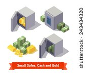 small safes with gold bars ... | Shutterstock .eps vector #243434320