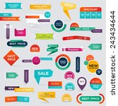 big set of sale discount styled ... | Shutterstock .eps vector #243434644