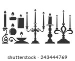 Set Of Silhouette Candles.