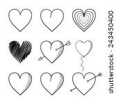 heart collection  valentine... | Shutterstock .eps vector #243450400