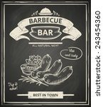 bbq poster stylized like sketch ... | Shutterstock .eps vector #243454360