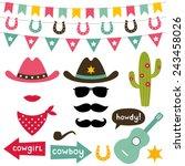 cowboy vector design elements... | Shutterstock .eps vector #243458026