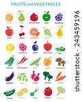 collection of fruits and... | Shutterstock . vector #243459196