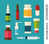 medicine and drugs icons set... | Shutterstock .eps vector #243460828