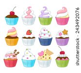 set of colorful sweet cupcakes... | Shutterstock .eps vector #243492076