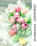 tulip flowers with easter eggs... | Shutterstock . vector #243493810
