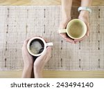 two people talking while... | Shutterstock . vector #243494140