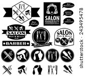 set of vintage barber shop... | Shutterstock .eps vector #243495478