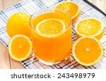 orange juice and orange drink. | Shutterstock . vector #243498979