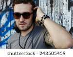city styl portrait young man on ... | Shutterstock . vector #243505459