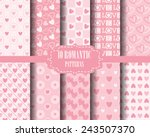 set of heart seamless  patterns ...