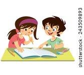 children pupils reading...   Shutterstock .eps vector #243509893