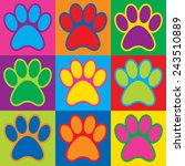 Pop Art Animal Paw Prints In A...