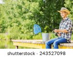 young guy in hat sitting on... | Shutterstock . vector #243527098