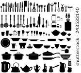 set of kitchen utensils and... | Shutterstock .eps vector #243533140