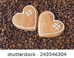 Two Hearts On Coffee Backgroun...