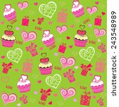 seamless valentine pattern with ... | Shutterstock .eps vector #243548989