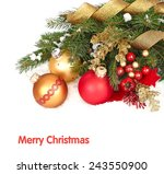 christmas balls on branches of... | Shutterstock . vector #243550900