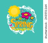 spring word  flowers and... | Shutterstock .eps vector #243551164