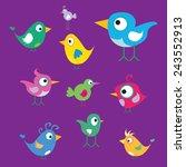 vector cute birds | Shutterstock .eps vector #243552913