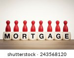 mortgage concept  red pawns on...   Shutterstock . vector #243568120