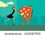 shopping for a home a woman... | Shutterstock .eps vector #243587950