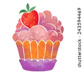 watercolor colorful cupcake... | Shutterstock .eps vector #243594469