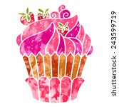 watercolor colorful cupcake... | Shutterstock .eps vector #243599719