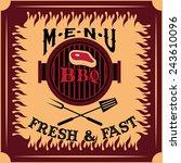 bbq menu card vector design... | Shutterstock .eps vector #243610096