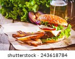 delicious a burger and fries... | Shutterstock . vector #243618784