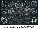 hand drawn frame wreath  line... | Shutterstock .eps vector #243627046