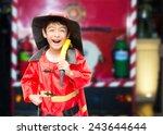 little boy pretend as a fire... | Shutterstock . vector #243644644