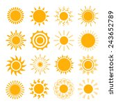 orange sun icons. the sun sets... | Shutterstock .eps vector #243652789