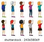 illustration of girls writing... | Shutterstock .eps vector #243658069