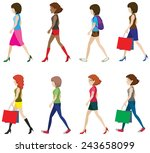 illustration of many women... | Shutterstock .eps vector #243658099