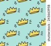 funny cute cartoon crown vector ... | Shutterstock .eps vector #243663958