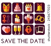 vector save the date set. flat... | Shutterstock .eps vector #243677023